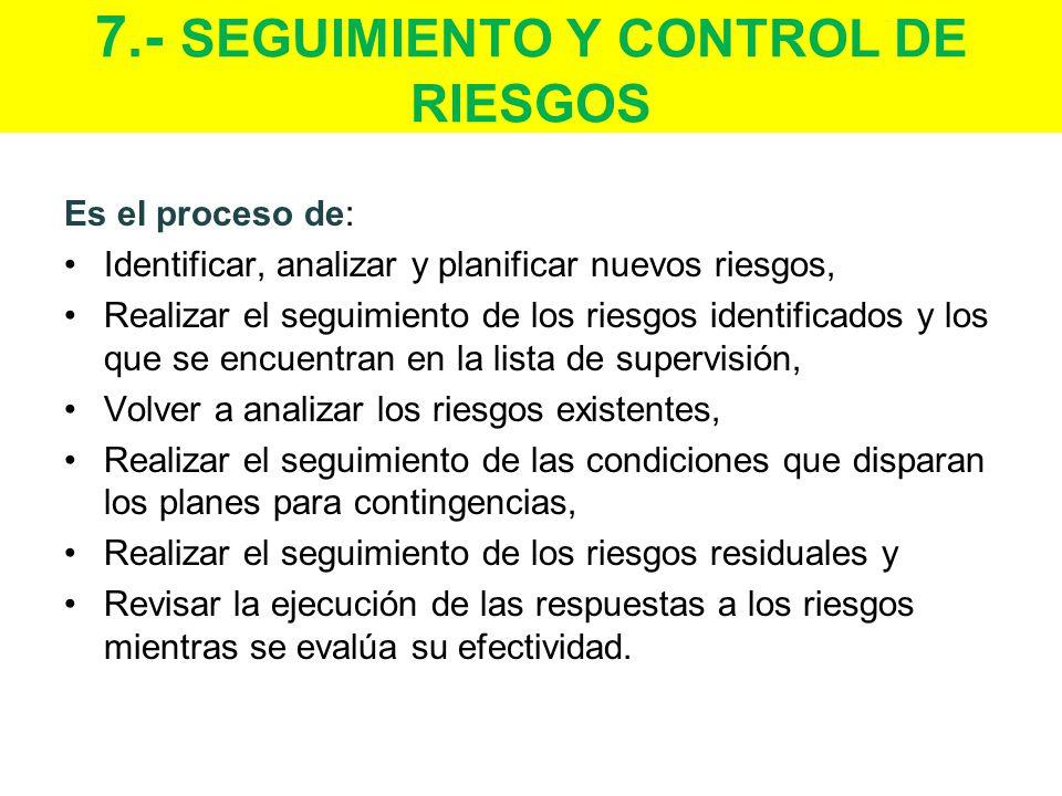 7.- SEGUIMIENTO Y CONTROL DE RIESGOS Es el proceso de: Identificar, analizar y planificar nuevos riesgos, Realizar el seguimiento de los riesgos identificados y los que se encuentran en la lista de supervisión, Volver a analizar los riesgos existentes, Realizar el seguimiento de las condiciones que disparan los planes para contingencias, Realizar el seguimiento de los riesgos residuales y Revisar la ejecución de las respuestas a los riesgos mientras se evalúa su efectividad.