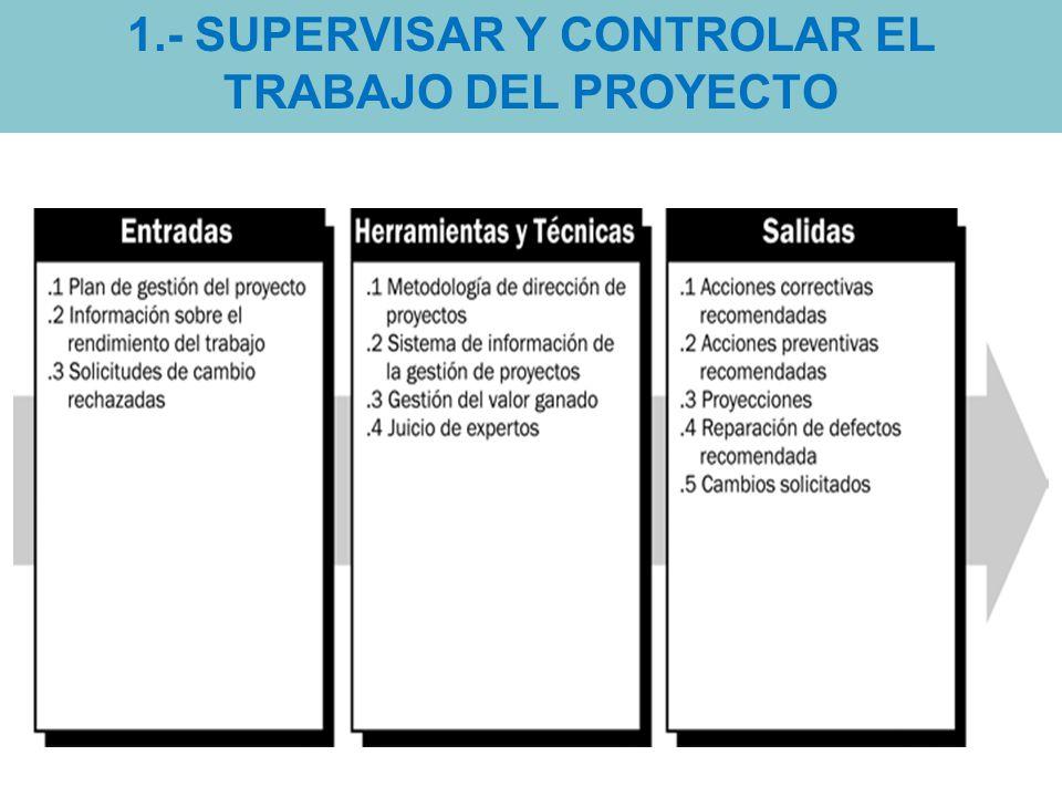 1.- SUPERVISAR Y CONTROLAR EL TRABAJO DEL PROYECTO