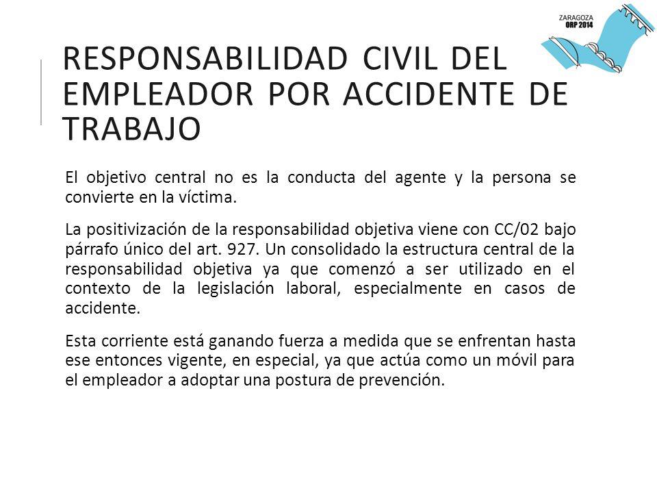 RESPONSABILIDAD CIVIL DEL EMPLEADOR POR ACCIDENTE DE TRABAJO El objetivo central no es la conducta del agente y la persona se convierte en la víctima.