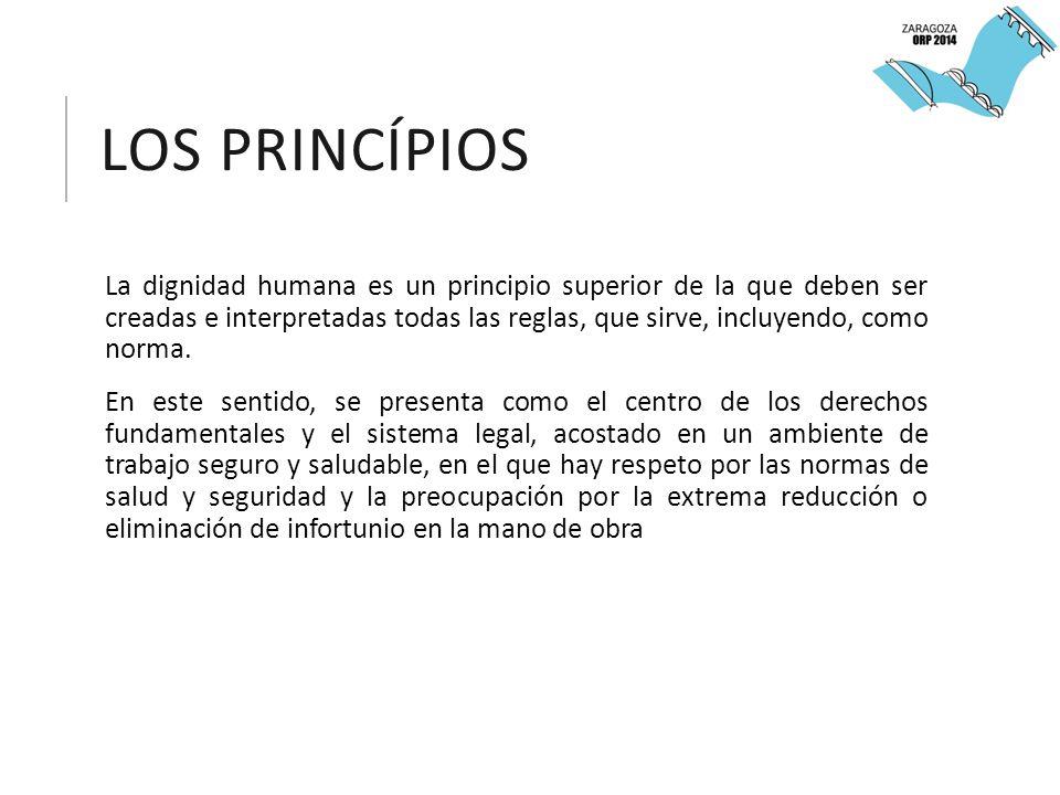 LOS PRINCÍPIOS La dignidad humana es un principio superior de la que deben ser creadas e interpretadas todas las reglas, que sirve, incluyendo, como norma.
