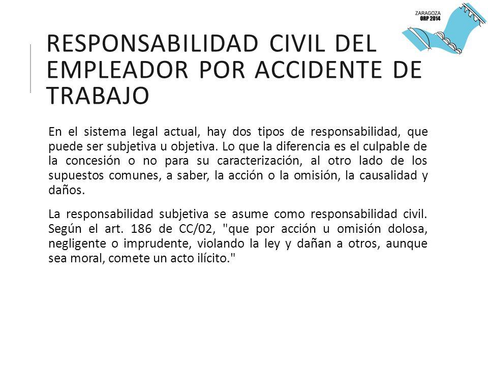 RESPONSABILIDAD CIVIL DEL EMPLEADOR POR ACCIDENTE DE TRABAJO En el sistema legal actual, hay dos tipos de responsabilidad, que puede ser subjetiva u objetiva.