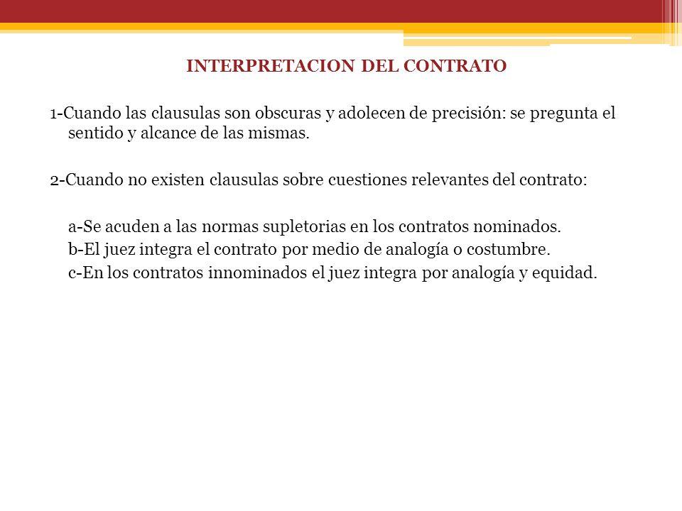 INTERPRETACION DEL CONTRATO 1-Cuando las clausulas son obscuras y adolecen de precisión: se pregunta el sentido y alcance de las mismas.
