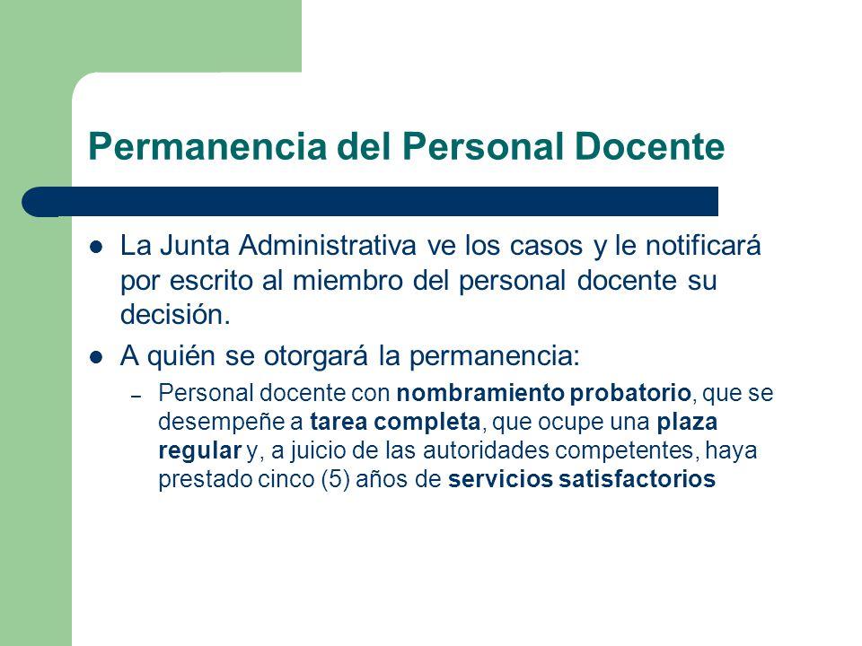 Permanencia del Personal Docente La Junta Administrativa ve los casos y le notificará por escrito al miembro del personal docente su decisión.