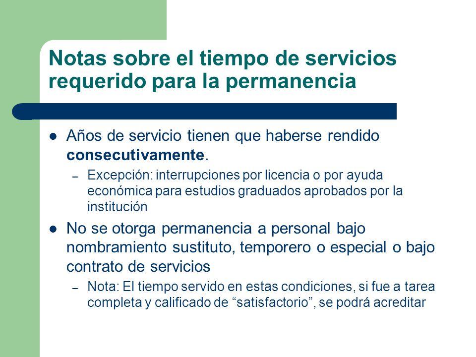 Notas sobre el tiempo de servicios requerido para la permanencia Años de servicio tienen que haberse rendido consecutivamente.