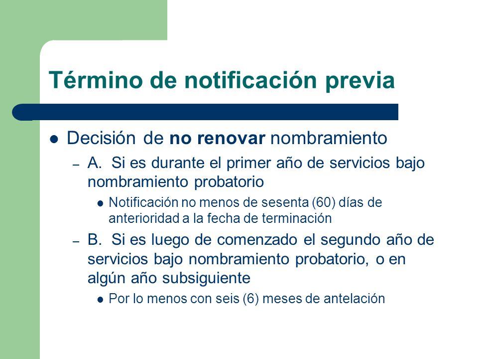 Término de notificación previa Decisión de no renovar nombramiento – A.