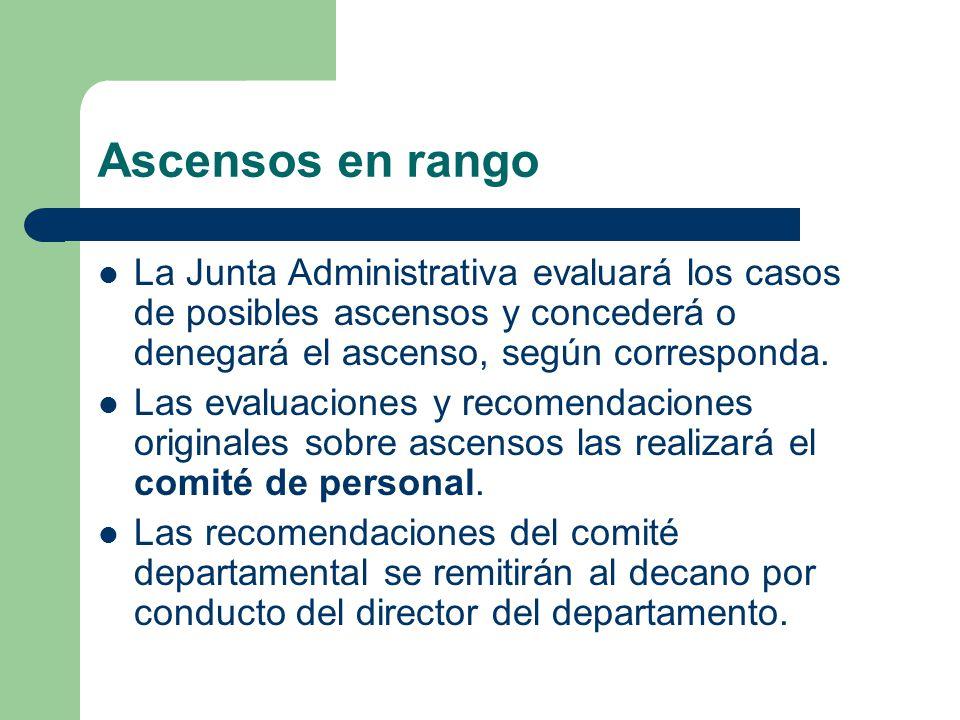 Ascensos en rango La Junta Administrativa evaluará los casos de posibles ascensos y concederá o denegará el ascenso, según corresponda.