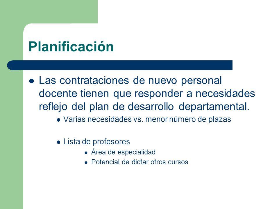 Planificación Las contrataciones de nuevo personal docente tienen que responder a necesidades reflejo del plan de desarrollo departamental.