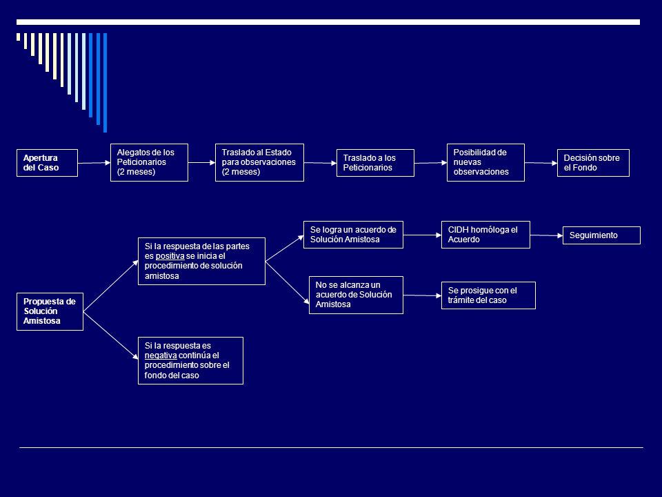 Apertura del Caso Alegatos de los Peticionarios (2 meses) Traslado al Estado para observaciones (2 meses) Traslado a los Peticionarios Posibilidad de nuevas observaciones Decisión sobre el Fondo Propuesta de Solución Amistosa Si la respuesta de las partes es positiva se inicia el procedimiento de solución amistosa Si la respuesta es negativa continúa el procedimiento sobre el fondo del caso Se logra un acuerdo de Solución Amistosa No se alcanza un acuerdo de Solución Amistosa CIDH homóloga el Acuerdo Seguimiento Se prosigue con el trámite del caso