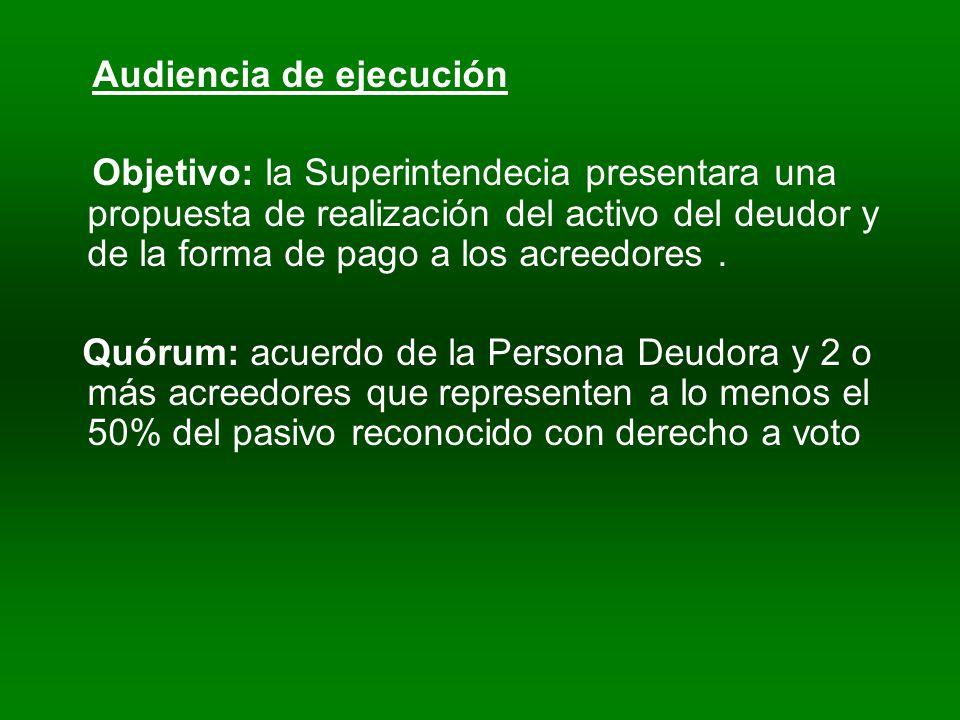 Audiencia de ejecución Objetivo: la Superintendecia presentara una propuesta de realización del activo del deudor y de la forma de pago a los acreedores.