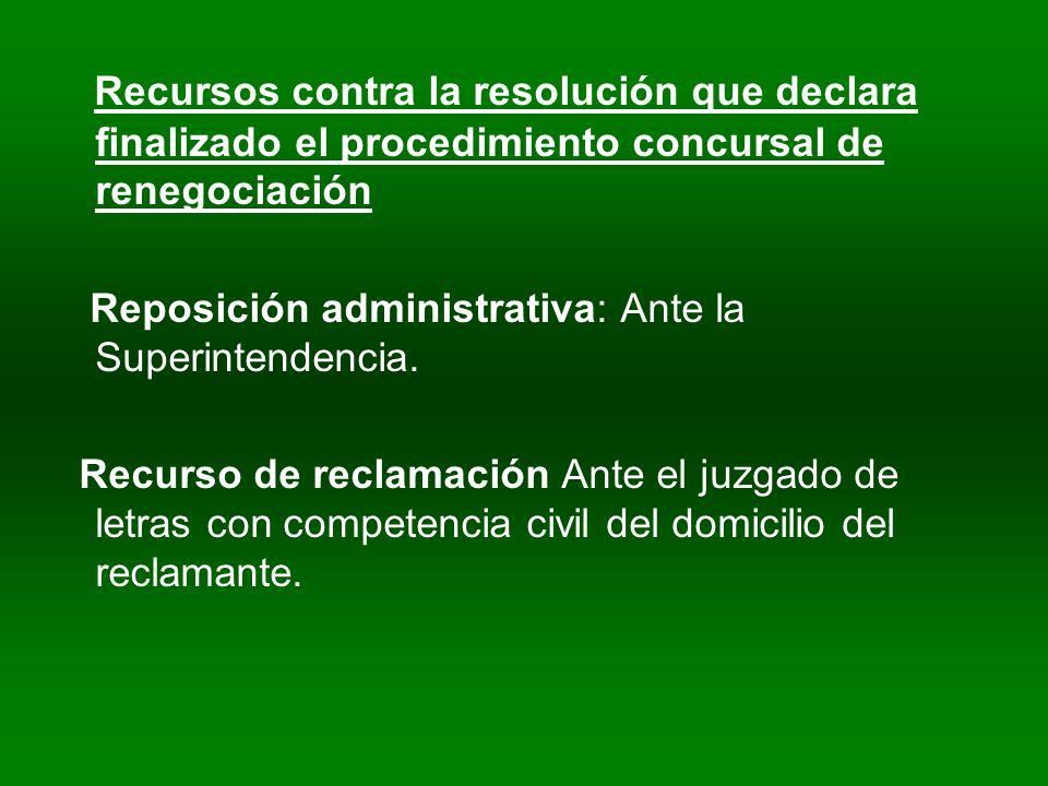 Recursos contra la resolución que declara finalizado el procedimiento concursal de renegociación Reposición administrativa: Ante la Superintendencia.