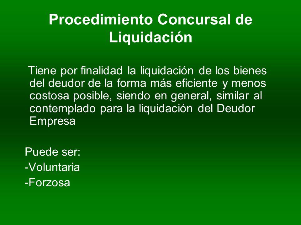 Procedimiento Concursal de Liquidación Tiene por finalidad la liquidación de los bienes del deudor de la forma más eficiente y menos costosa posible, siendo en general, similar al contemplado para la liquidación del Deudor Empresa Puede ser: -Voluntaria -Forzosa