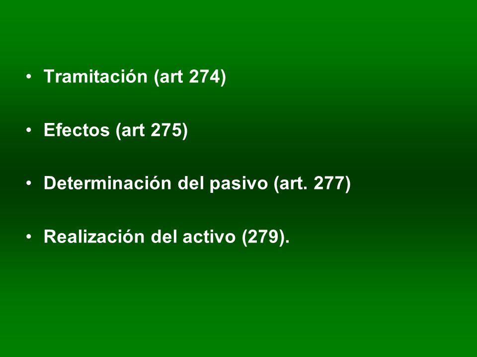 Tramitación (art 274) Efectos (art 275) Determinación del pasivo (art.