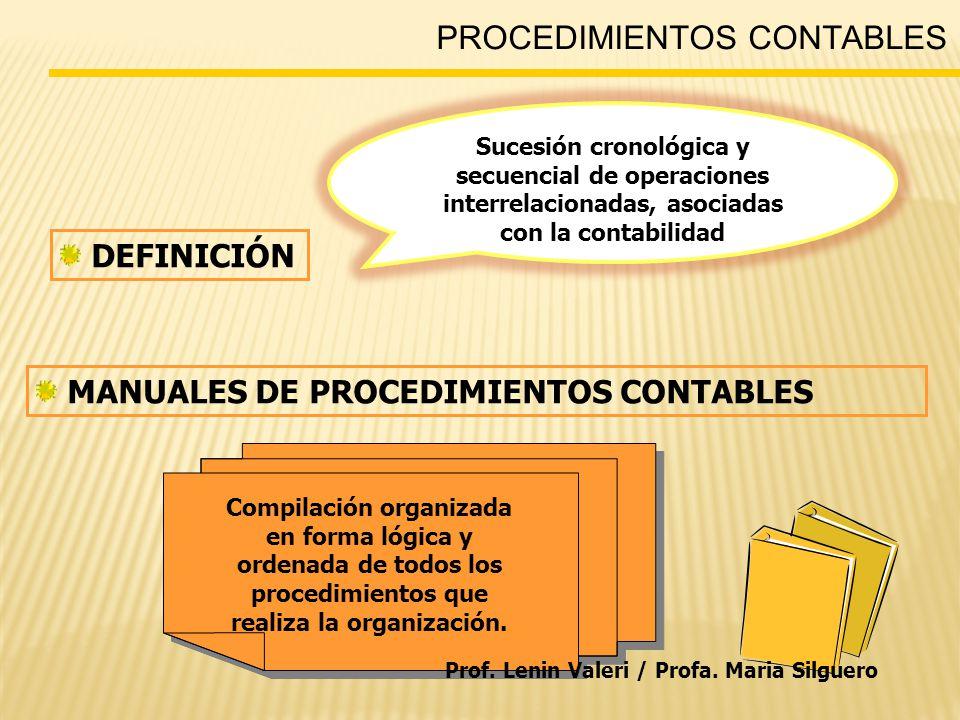PROCEDIMIENTOS CONTABLES DEFINICIÓN MANUALES DE PROCEDIMIENTOS CONTABLES Sucesión cronológica y secuencial de operaciones interrelacionadas, asociadas con la contabilidad Compilación organizada en forma lógica y ordenada de todos los procedimientos que realiza la organización.