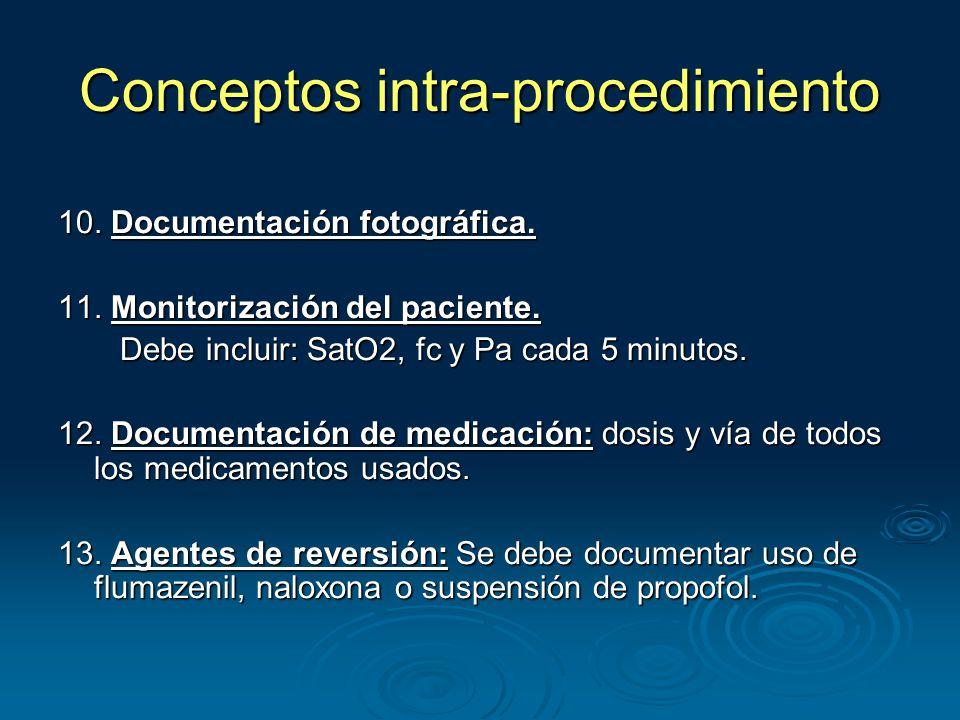 10. Documentación fotográfica. 11. Monitorización del paciente.