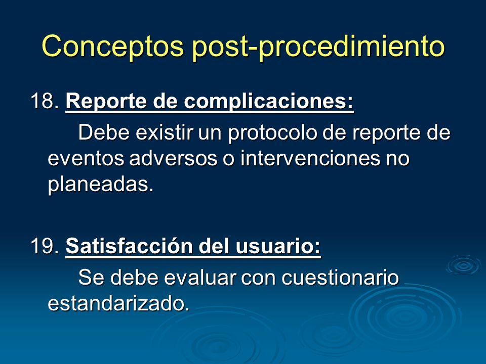 Conceptos post-procedimiento 18.