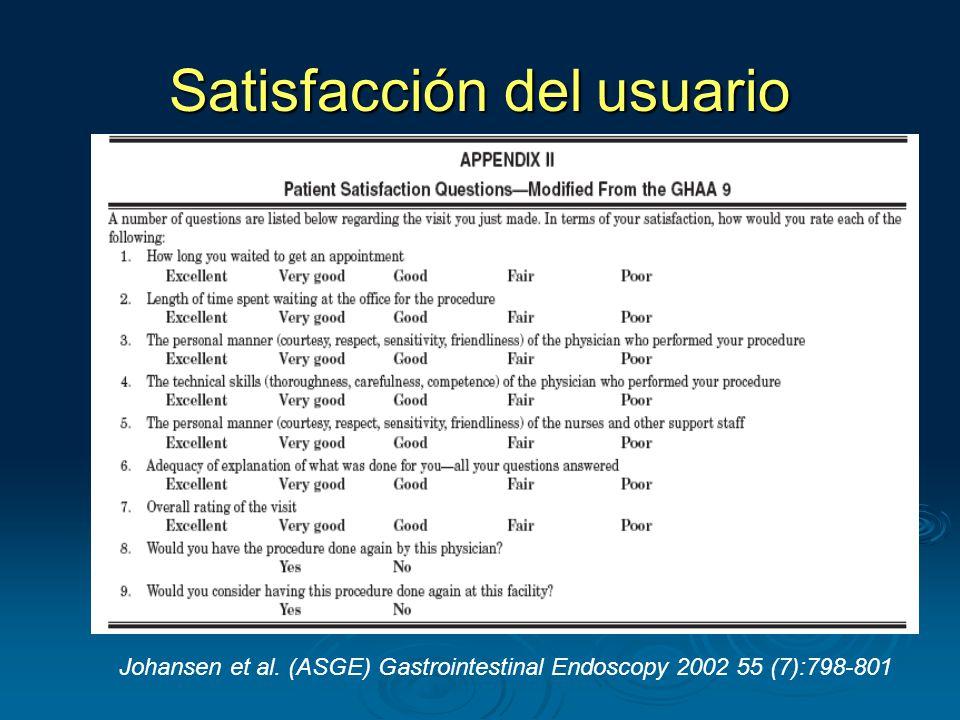 Satisfacción del usuario Johansen et al. (ASGE) Gastrointestinal Endoscopy 2002 55 (7):798-801