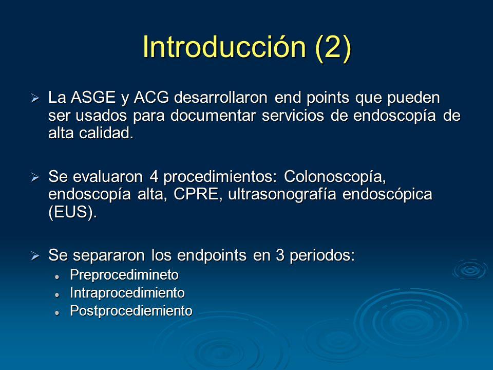 Introducción (2)  La ASGE y ACG desarrollaron end points que pueden ser usados para documentar servicios de endoscopía de alta calidad.