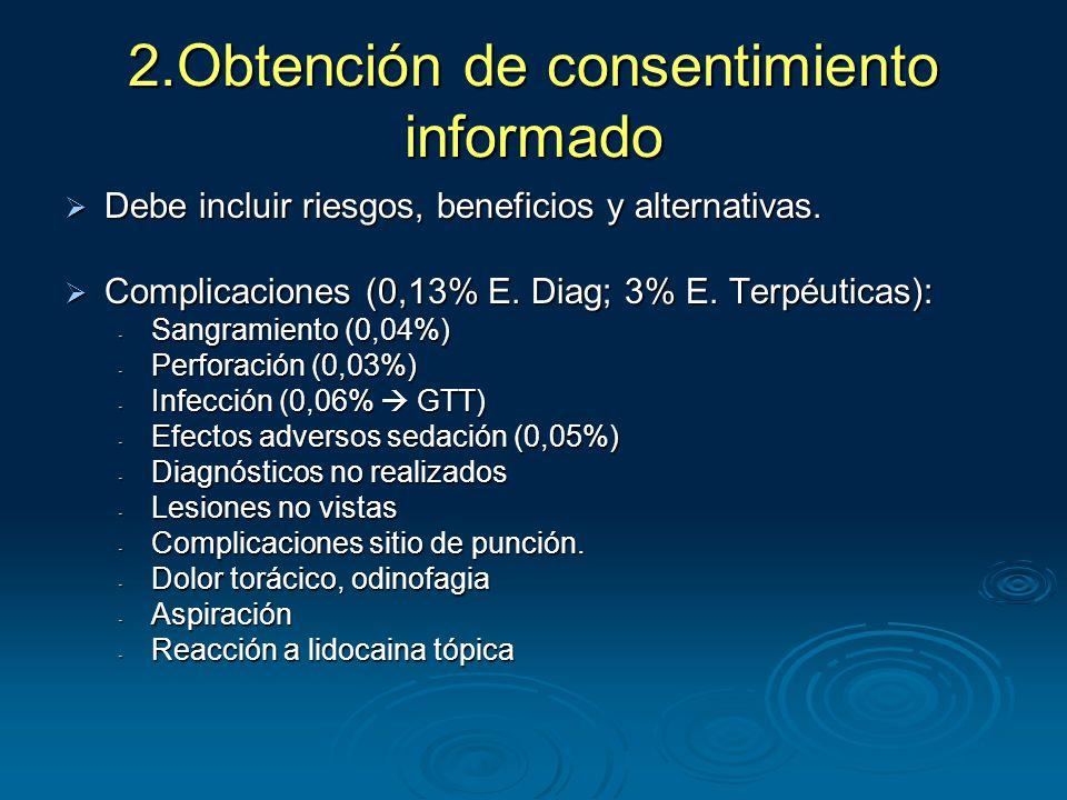 2.Obtención de consentimiento informado  Debe incluir riesgos, beneficios y alternativas.