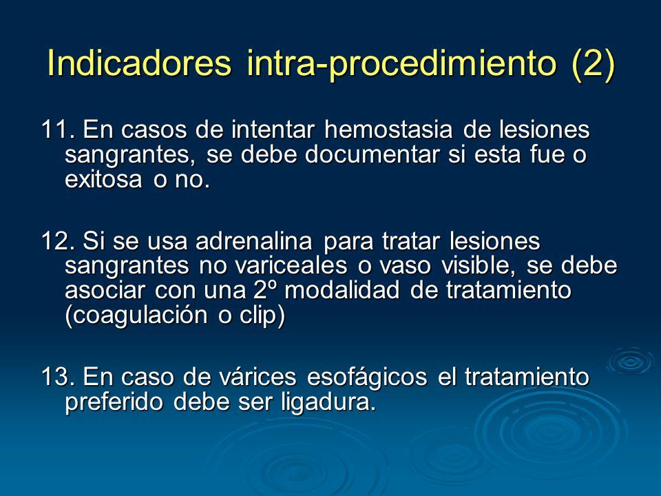 Indicadores intra-procedimiento (2) 11.