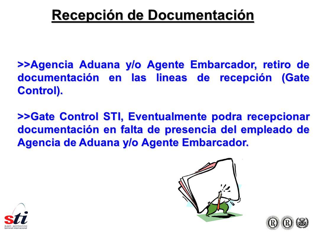 Recepción de Documentación >>Agencia Aduana y/o Agente Embarcador, retiro de documentación en las lineas de recepción (Gate Control).
