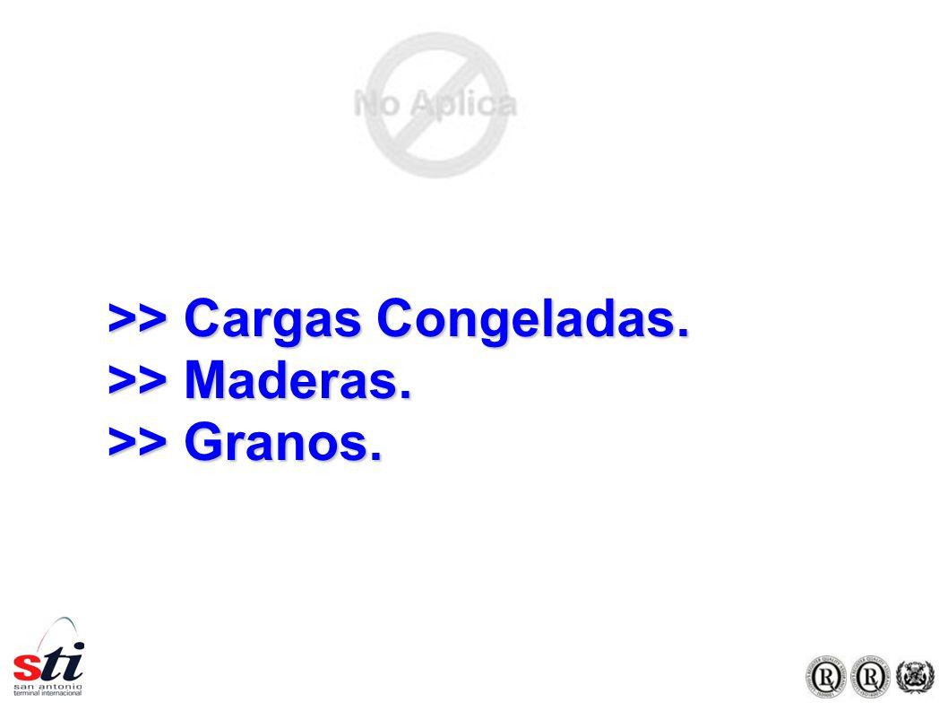 >> Cargas Congeladas. >> Maderas. >> Granos.