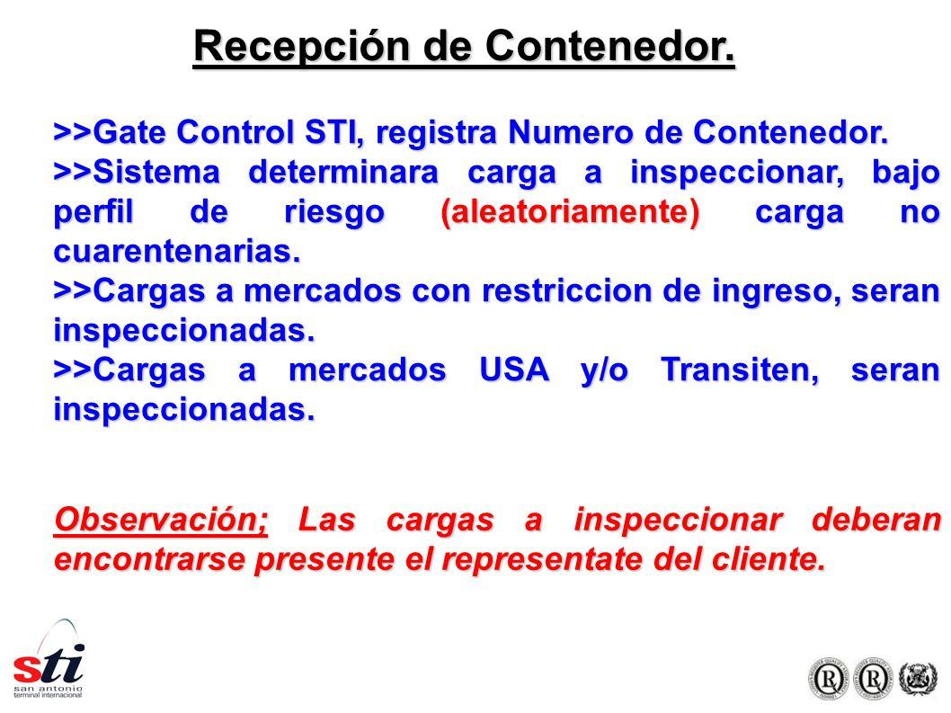Recepción de Contenedor. >>Gate Control STI, registra Numero de Contenedor.