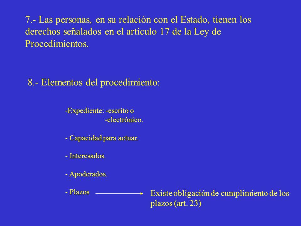 7.- Las personas, en su relación con el Estado, tienen los derechos señalados en el artículo 17 de la Ley de Procedimientos.