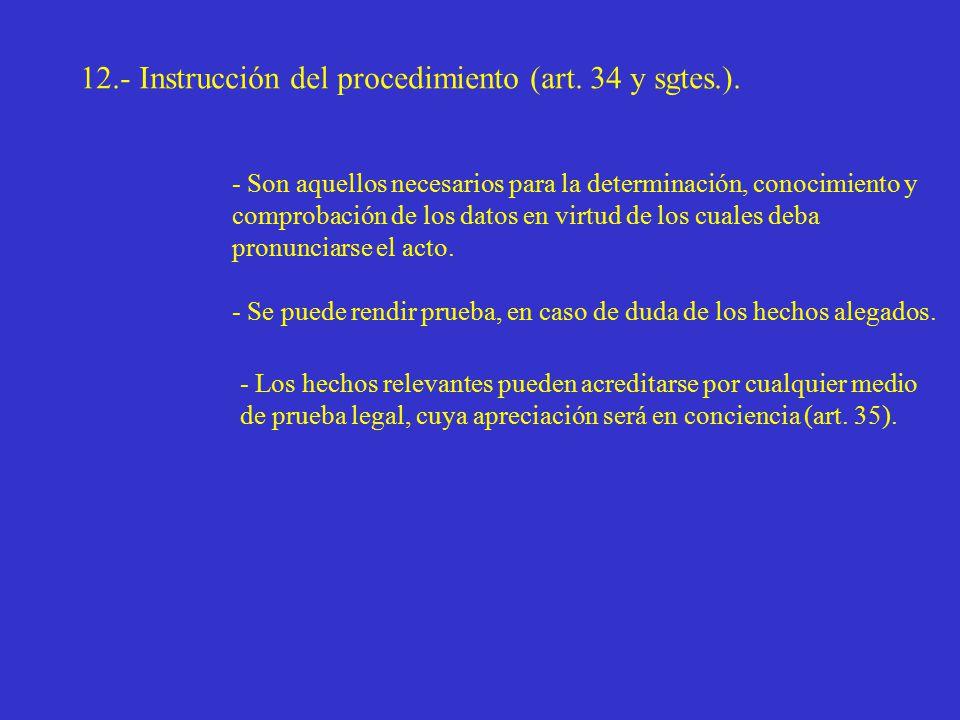 12.- Instrucción del procedimiento (art. 34 y sgtes.).