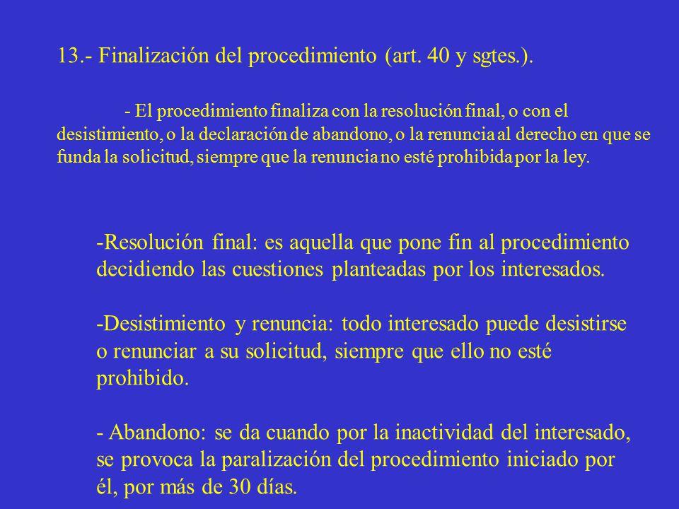 13.- Finalización del procedimiento (art. 40 y sgtes.).