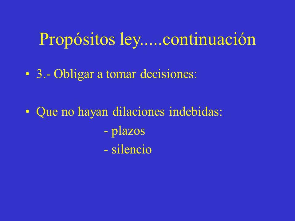 Propósitos ley.....continuación 3.- Obligar a tomar decisiones: Que no hayan dilaciones indebidas: - plazos - silencio