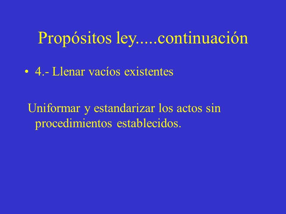 Propósitos ley.....continuación 4.- Llenar vacíos existentes Uniformar y estandarizar los actos sin procedimientos establecidos.