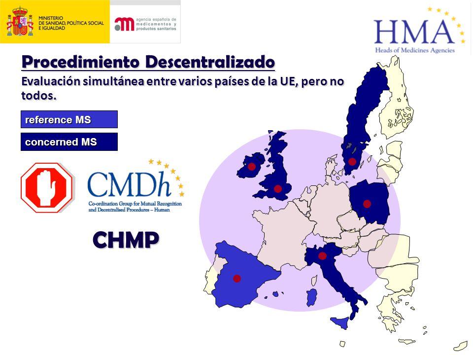 Procedimiento Descentralizado Evaluación simultánea entre varios países de la UE, pero no todos.