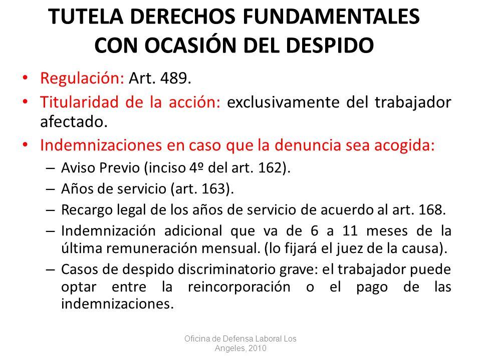 TUTELA DERECHOS FUNDAMENTALES CON OCASIÓN DEL DESPIDO Regulación: Art.