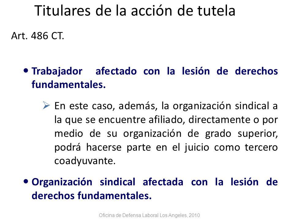 Titulares de la acción de tutela Art. 486 CT.