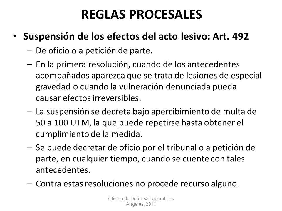 Suspensión de los efectos del acto lesivo: Art. 492 – De oficio o a petición de parte.