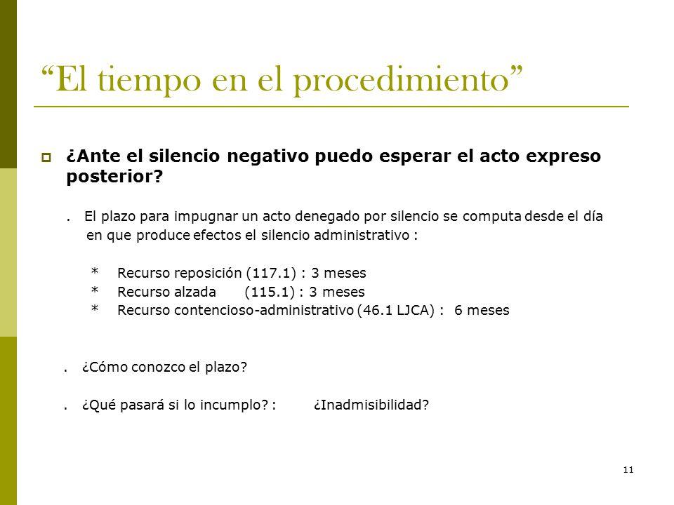 11 El tiempo en el procedimiento  ¿Ante el silencio negativo puedo esperar el acto expreso posterior .