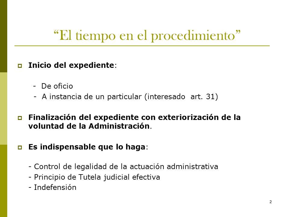 2 El tiempo en el procedimiento  Inicio del expediente: - De oficio - A instancia de un particular (interesado art.