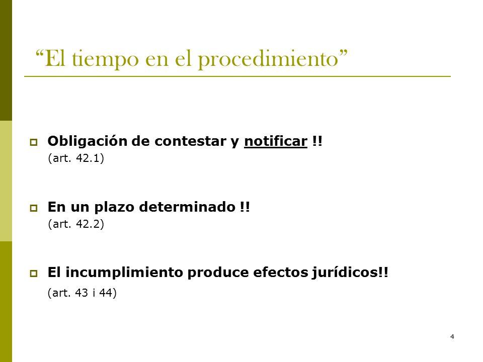 4 El tiempo en el procedimiento  Obligación de contestar y notificar !.