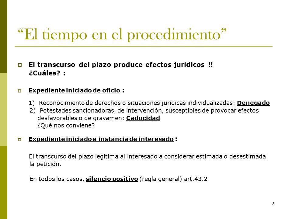 8 El tiempo en el procedimiento  El transcurso del plazo produce efectos jurídicos !.