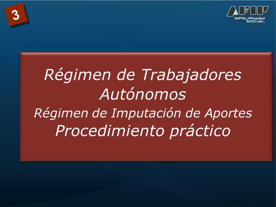 3 Régimen de Trabajadores Autónomos Régimen de Imputación de Aportes Procedimiento práctico