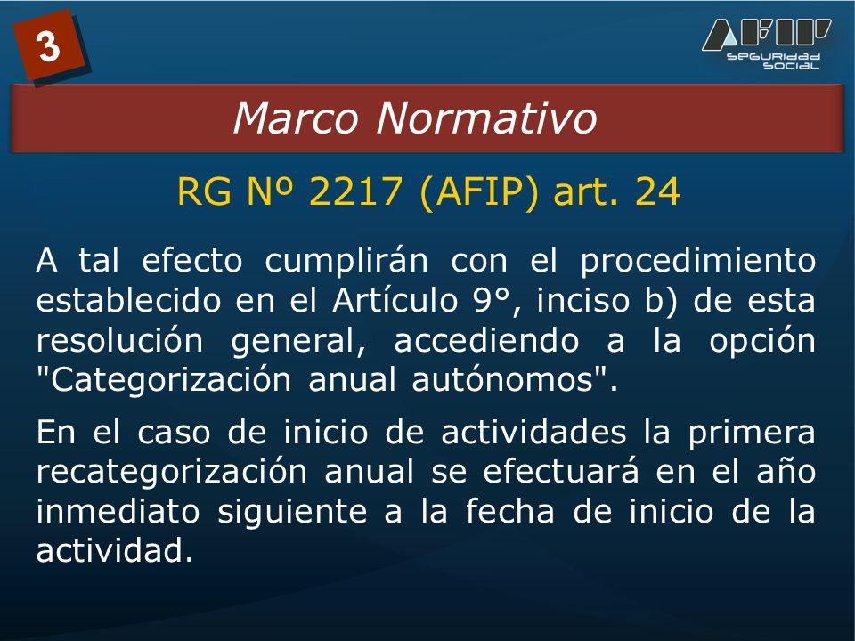 3 Marco Normativo A tal efecto cumplirán con el procedimiento establecido en el Artículo 9°, inciso b) de esta resolución general, accediendo a la opción Categorización anual autónomos .