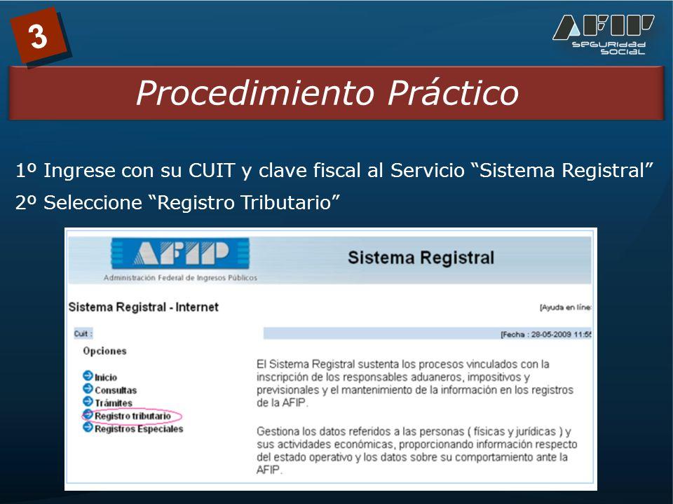 3 Procedimiento Práctico 1º Ingrese con su CUIT y clave fiscal al Servicio Sistema Registral 2º Seleccione Registro Tributario