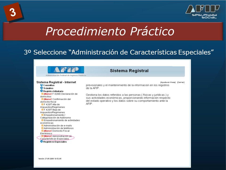 3 Procedimiento Práctico 3º Seleccione Administración de Características Especiales
