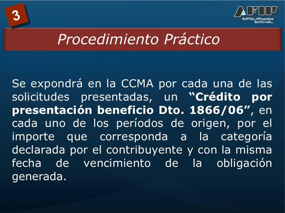 3 Se expondrá en la CCMA por cada una de las solicitudes presentadas, un Crédito por presentación beneficio Dto.