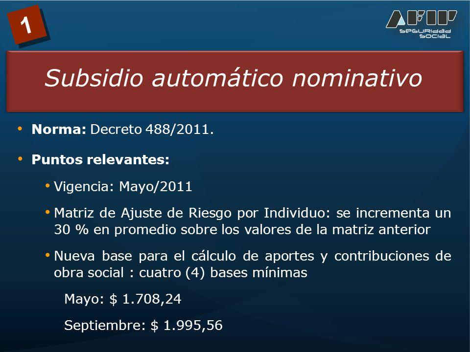 1 Subsidio automático nominativo Norma: Decreto 488/2011.