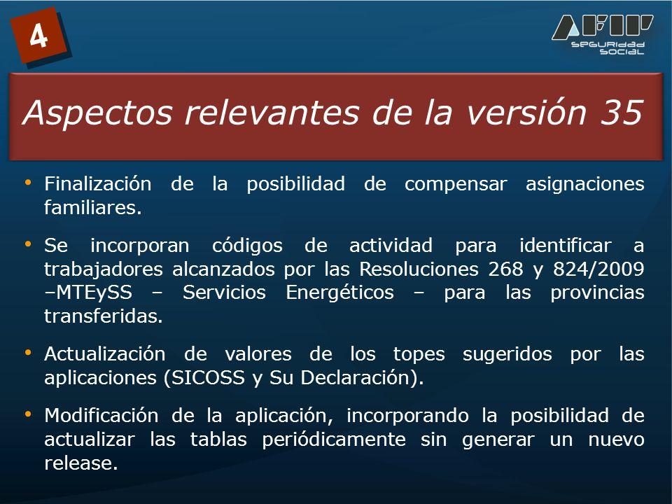 4 Aspectos relevantes de la versión 35 Finalización de la posibilidad de compensar asignaciones familiares.