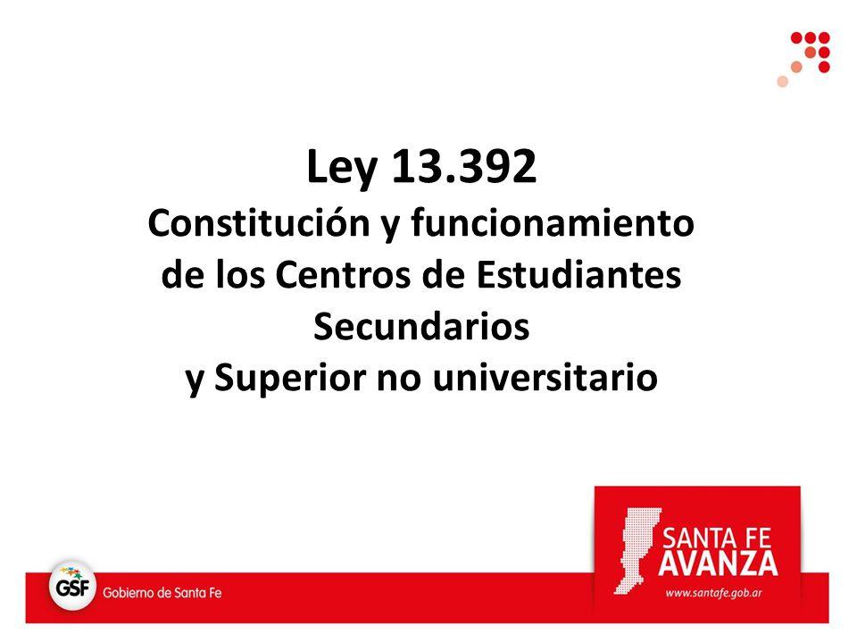 Ley 13.392 Constitución y funcionamiento de los Centros de Estudiantes Secundarios y Superior no universitario