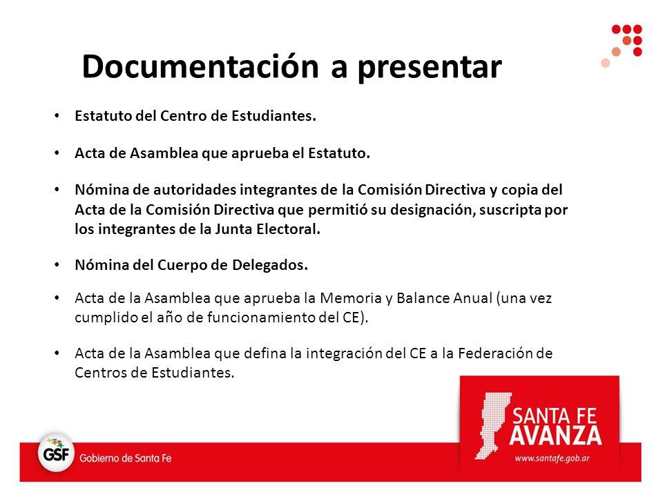 Estatuto del Centro de Estudiantes. Acta de Asamblea que aprueba el Estatuto.