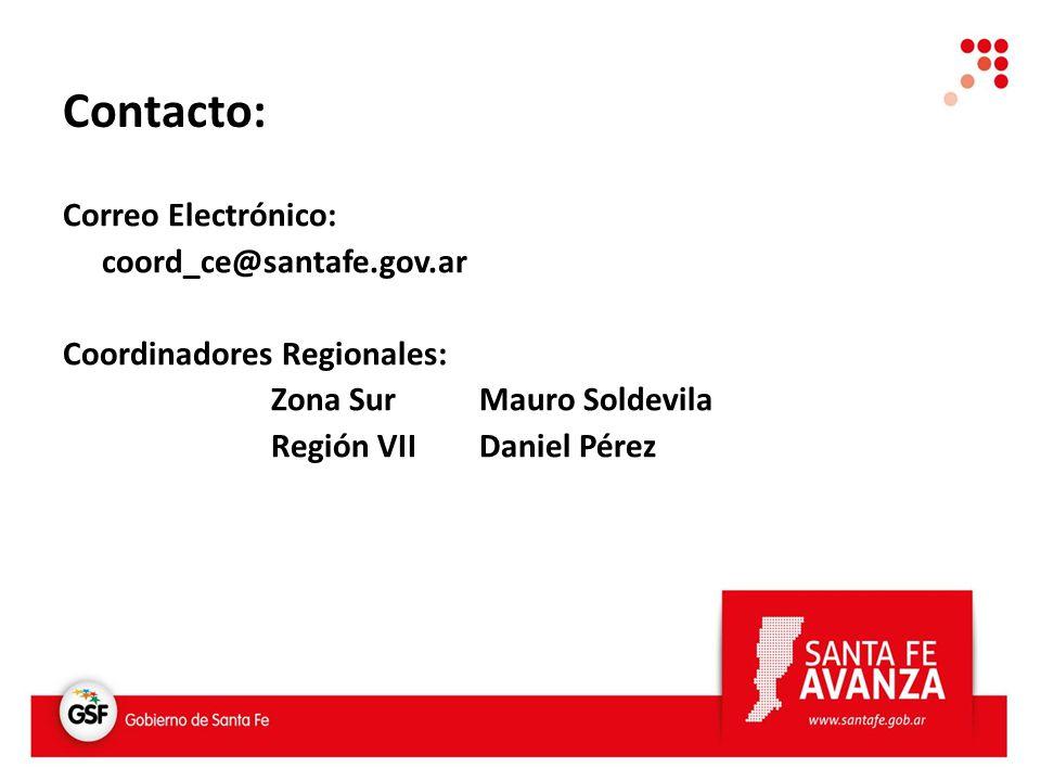 Correo Electrónico: coord_ce@santafe.gov.ar Coordinadores Regionales: Zona Sur Mauro Soldevila Región VIIDaniel Pérez Contacto: