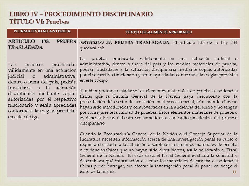 NORMATIVIDAD ANTERIOR TEXTO LEGALMENTE APROBADO ARTÍCULO 135.